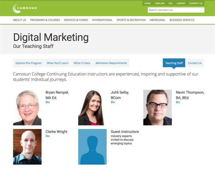 Camosun Digital Marketing Program Staff